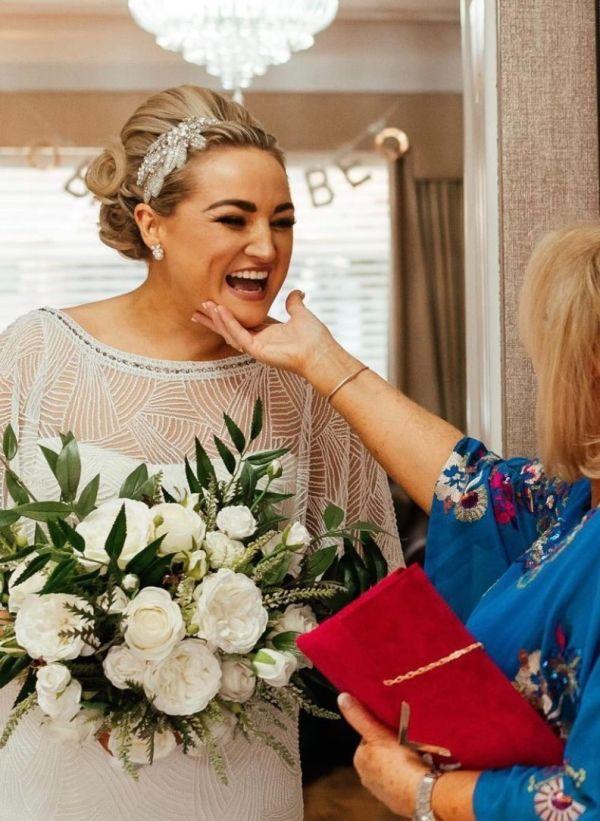 Real Bride Laura wearing Ava Earrings