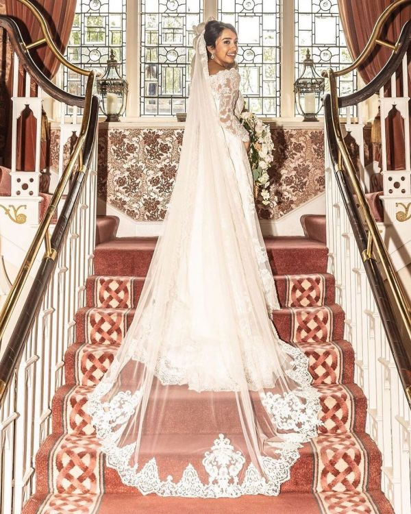Photo of Joyce Jackson Sassari Long Single Tier Beaded Lace Edge Veil with Ornate Motifs uploaded by  on 25th August 2021
