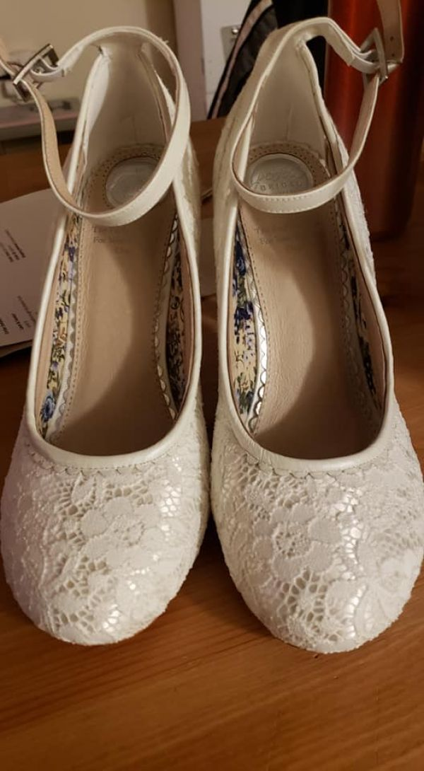 Photo of Perfect Bridal Dixie Ivory Lace Ankle Strap Court Shoes uploaded by A on 9th April 2021