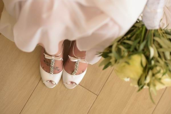 Photo of Perfect Bridal Phoenix Dyeable Ivory Satin Crystal T-Bar Sandals with Bow Detail uploaded by A on 21st September 2021