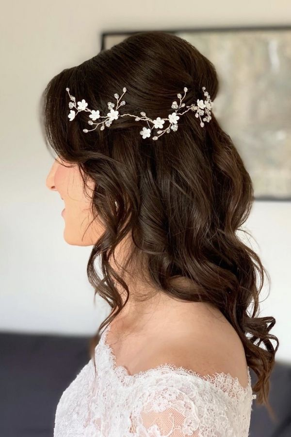 Photo of Florrie Delicate Floral Crystal Wedding Hair Vine uploaded by D on 31st March 2021