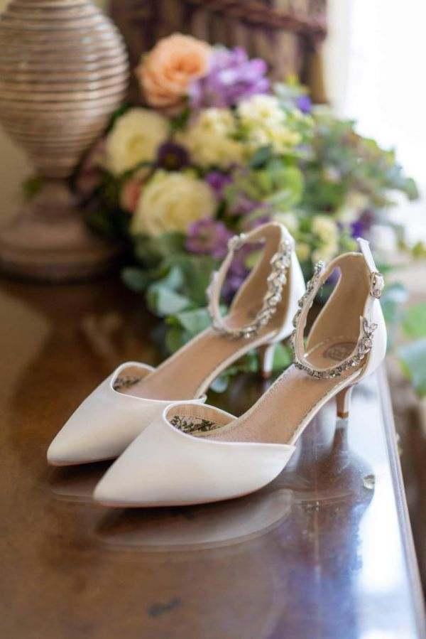 Photo of Perfect Bridal Eliza Dyeable Ivory Satin Embellished Ankle Strap Kitten Heels uploaded by E on 10th August 2021