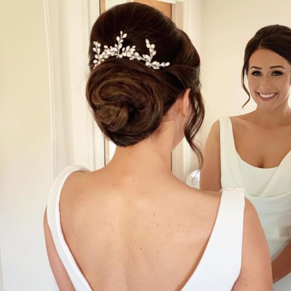Photo of Elodie Crystal and Pearl Wedding Hair Pin (Silver) uploaded by L on 31st March 2021