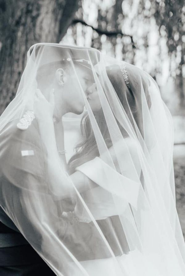 Photo of Rainbow Club Intrigue Ivory Plain Chapel Length Veil with Cut Edge uploaded by LH on 9th March 2021