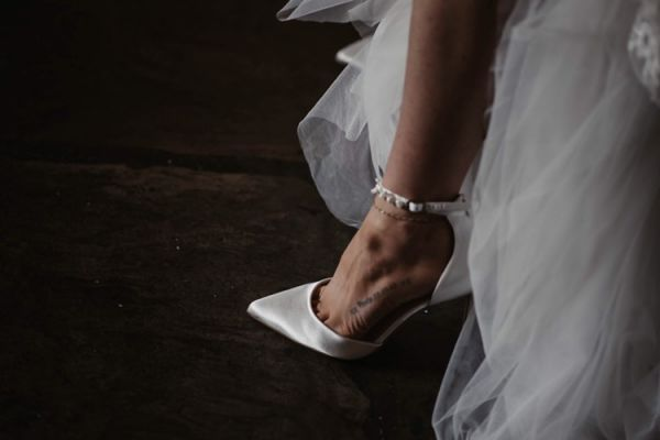 Photo of Perfect Bridal Ella Dyeable Ivory Satin Keshi Pearl Ankle Strap Court Shoes uploaded by R on 19th July 2021