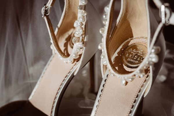 Photo of Perfect Bridal Ella Dyeable Ivory Satin Keshi Pearl Ankle Strap Court Shoes uploaded by S on 19th July 2021