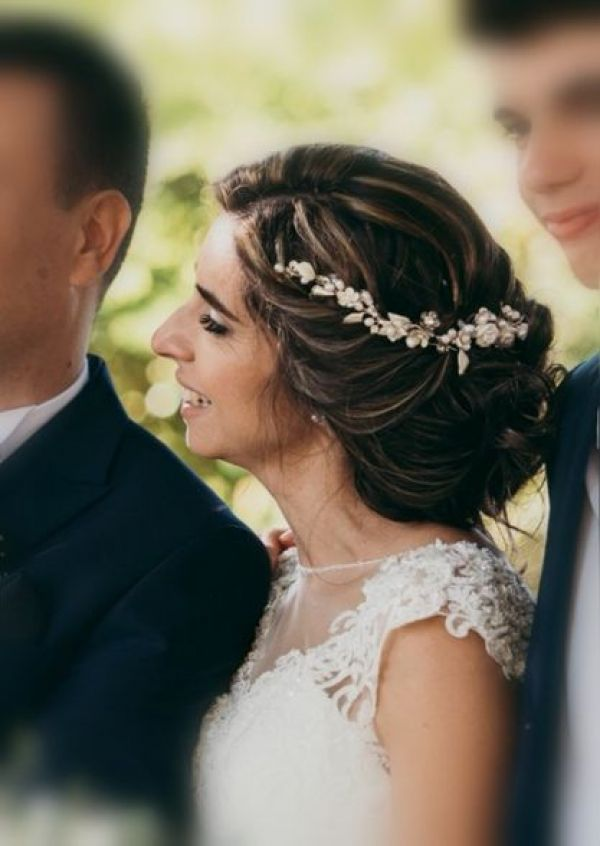 Photo of Rita Gold Flowers and Leaves Wedding Hair Vine uploaded by S on 9th April 2021