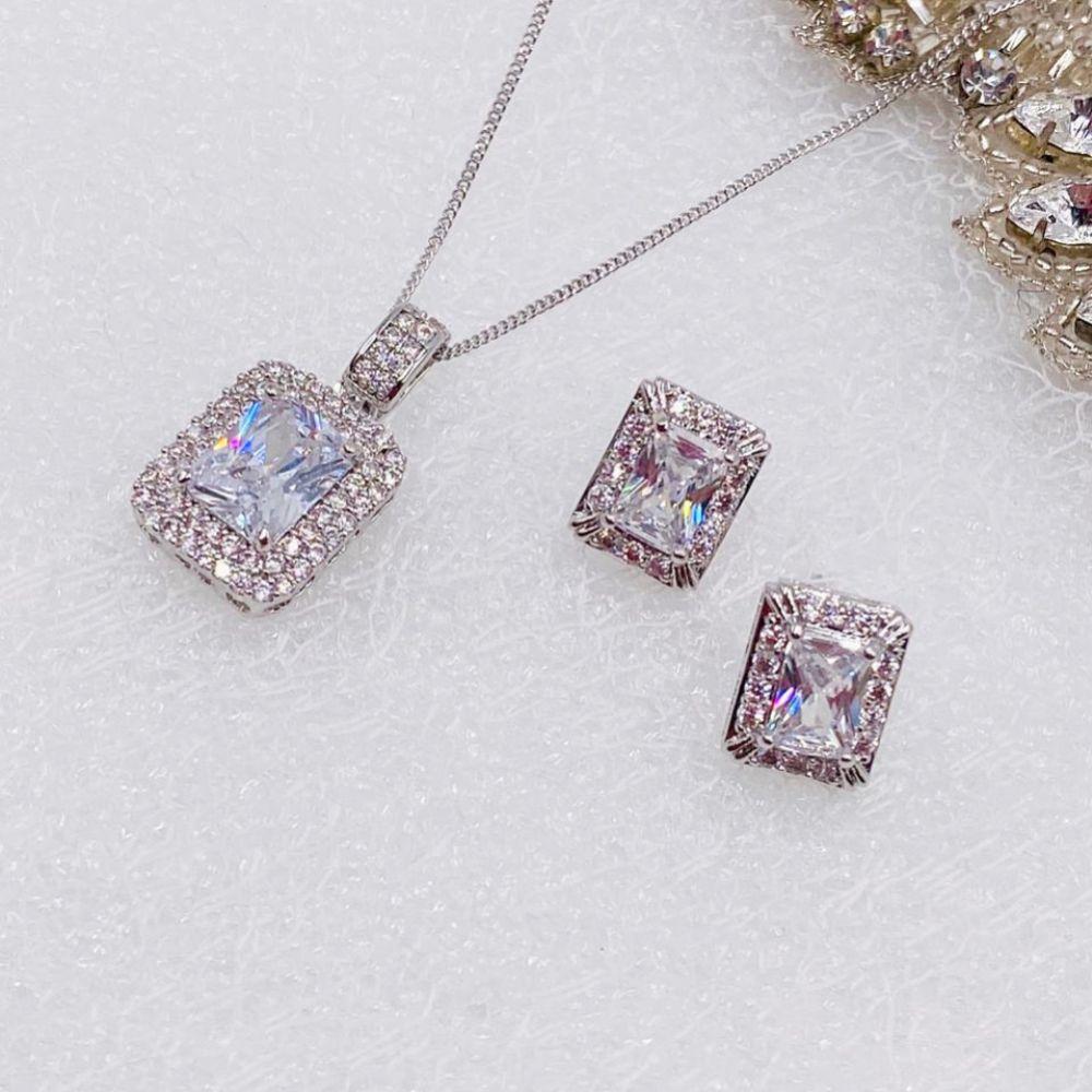 Ivory and Co Art Deco Rectangular Crystal Jewellery Set