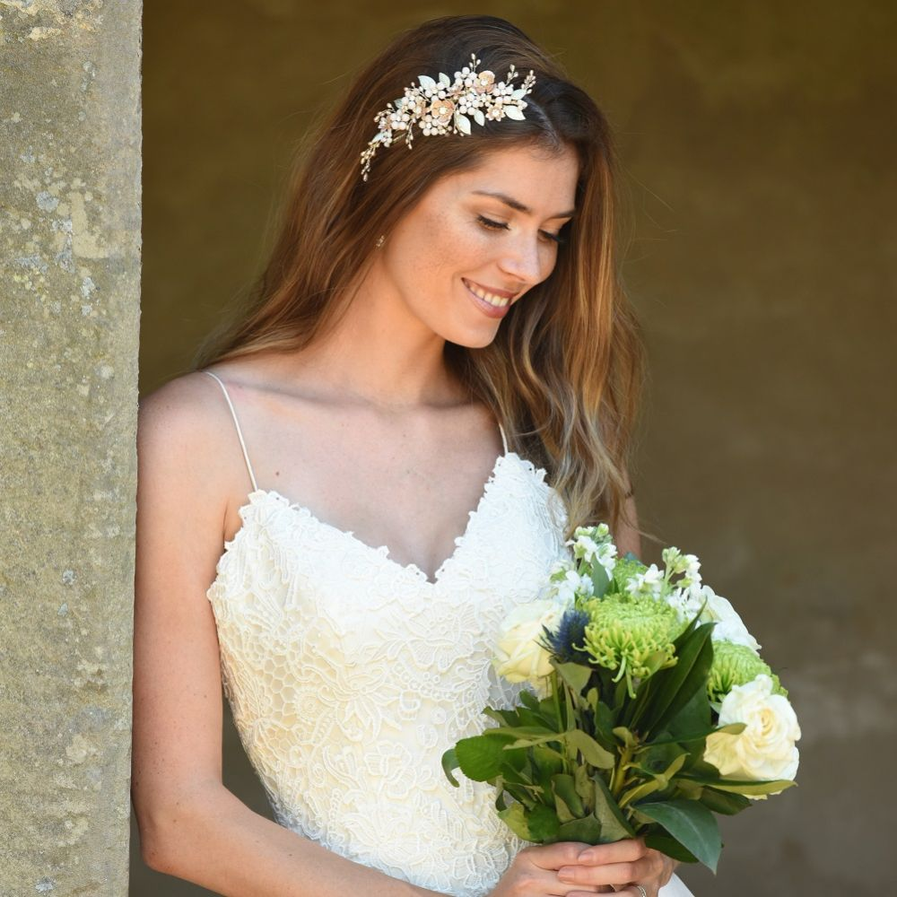 Ivory and Co Botanica Champagne Gold and Blush Flowers Headpiece