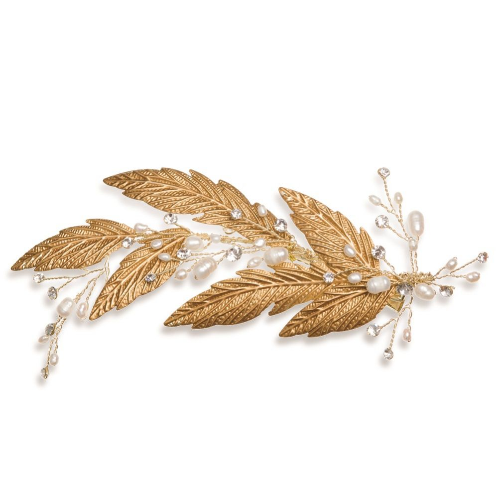 Ivory and Co Cassiopaea Bronze Enamelled Leaves Hair Clip