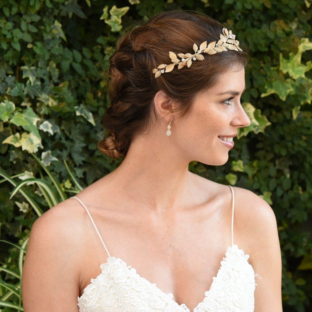 Ivory and Co Jupiter Bronze Enamelled Leaves Wedding Hair Vine
