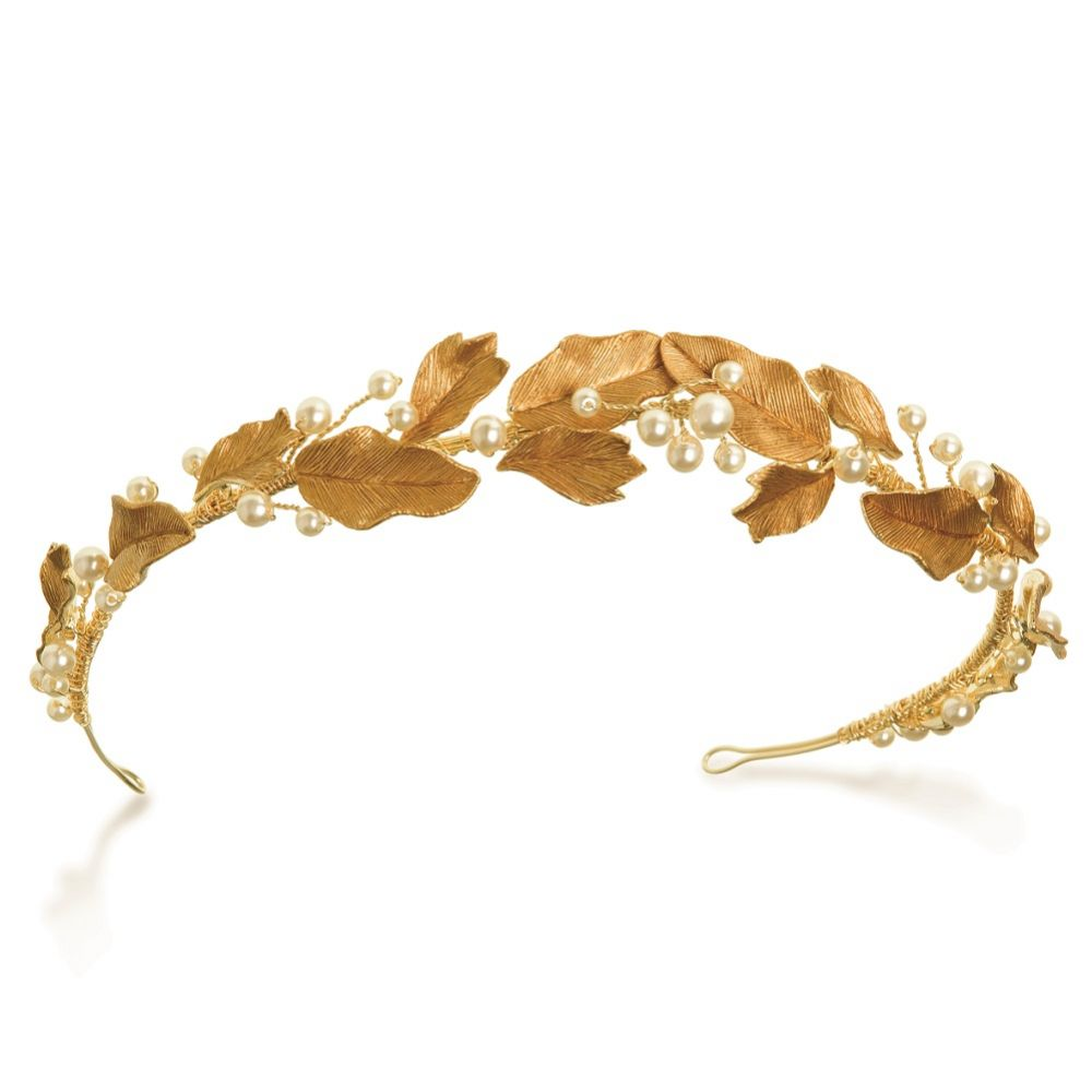 Ivory and Co Laurel Bronze Enamelled Leaves and Pearl Headpiece