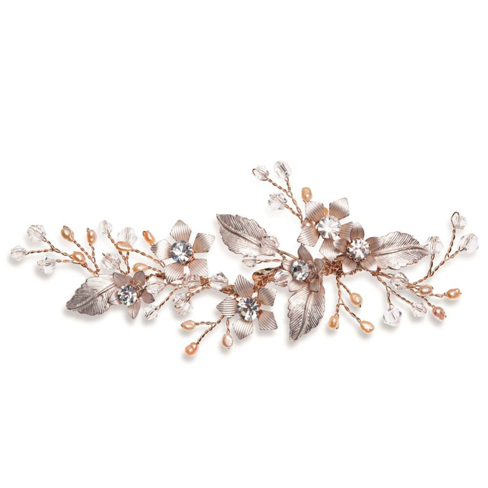 Ivory and Co Meadowsweet Floral Rose Gold Hair Clip