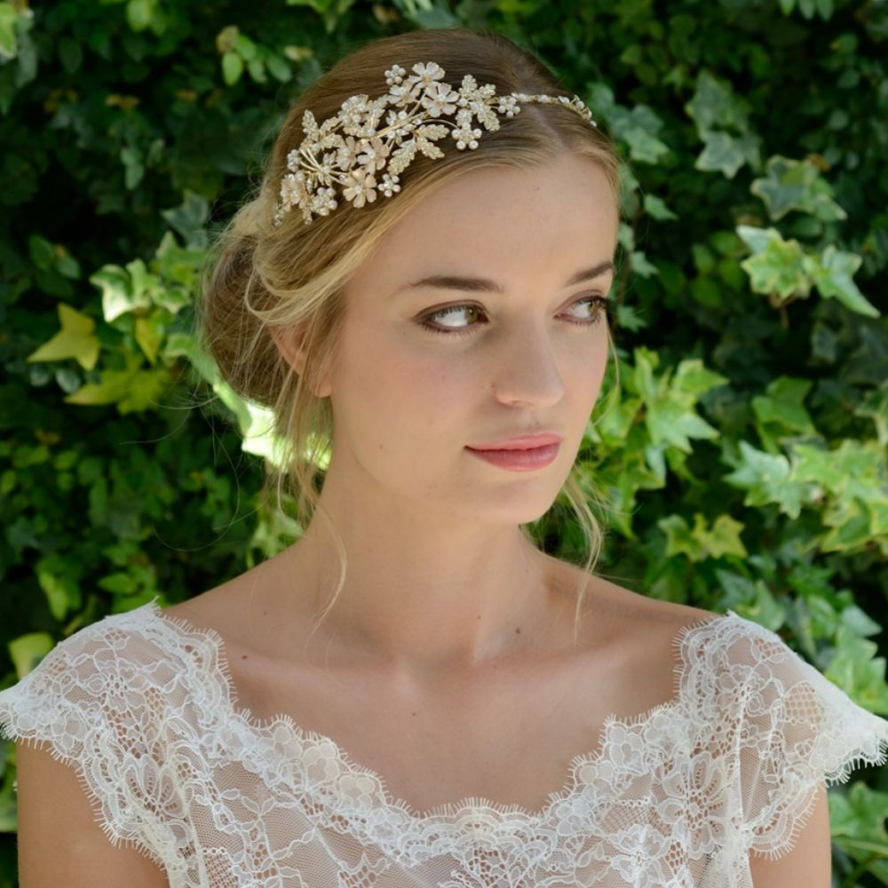 Ivory and Co Mimosa Golden Enamelled Blossoms Wedding Headpiece
