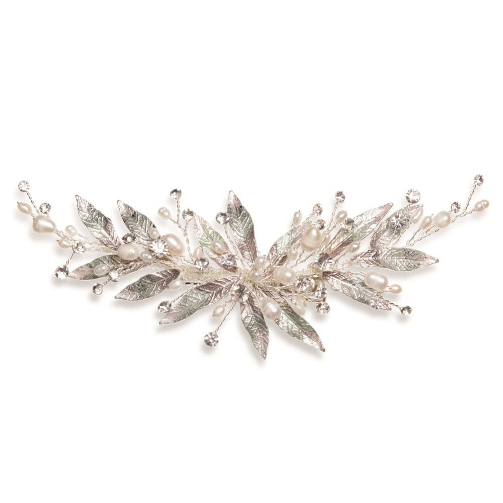 Ivory and Co Nieva Enamelled Leaves with Pearl and Crystal Sprigs Hair Clip