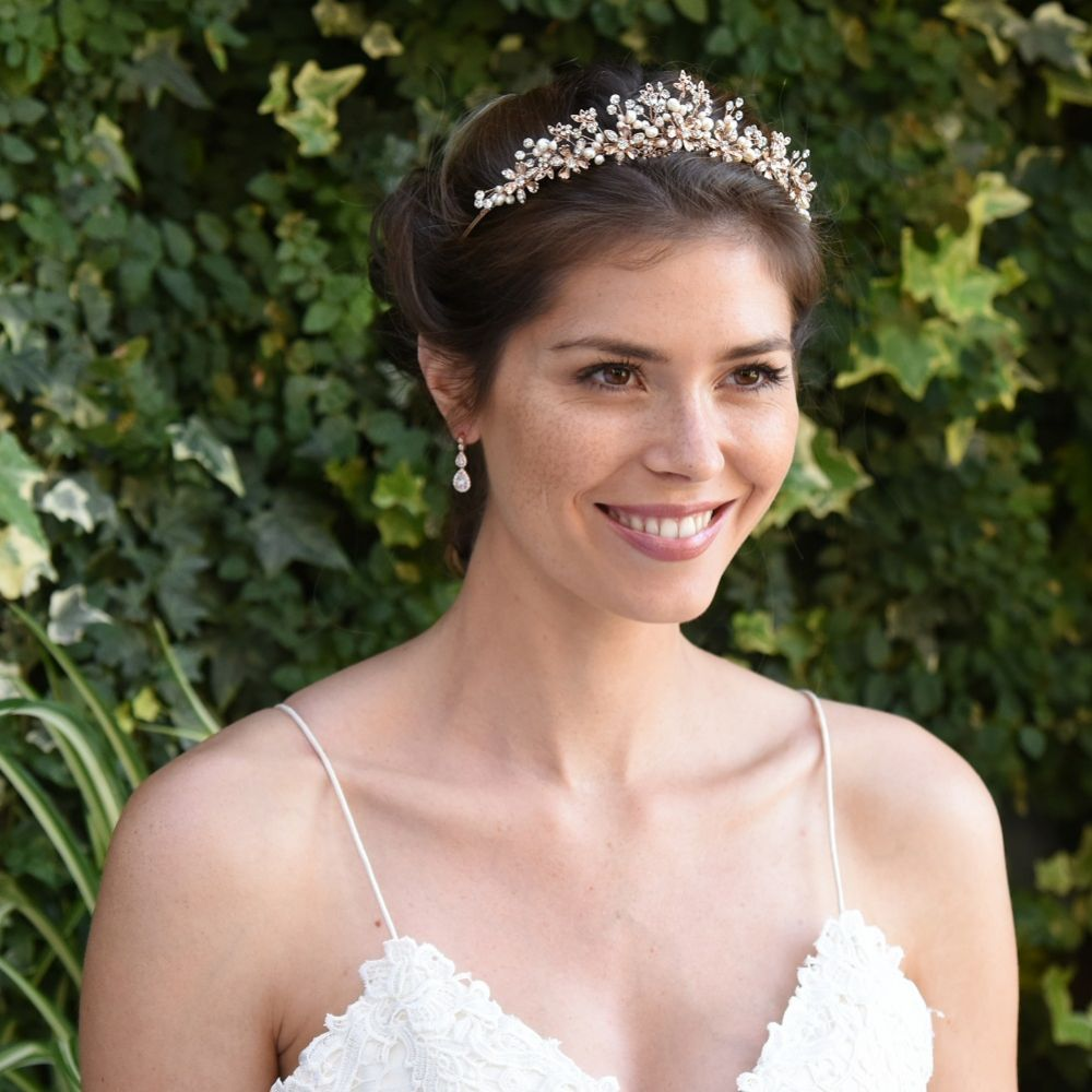Ivory and Co Rosalynd Rose Gold Flowers and Leaves Bridal Tiara