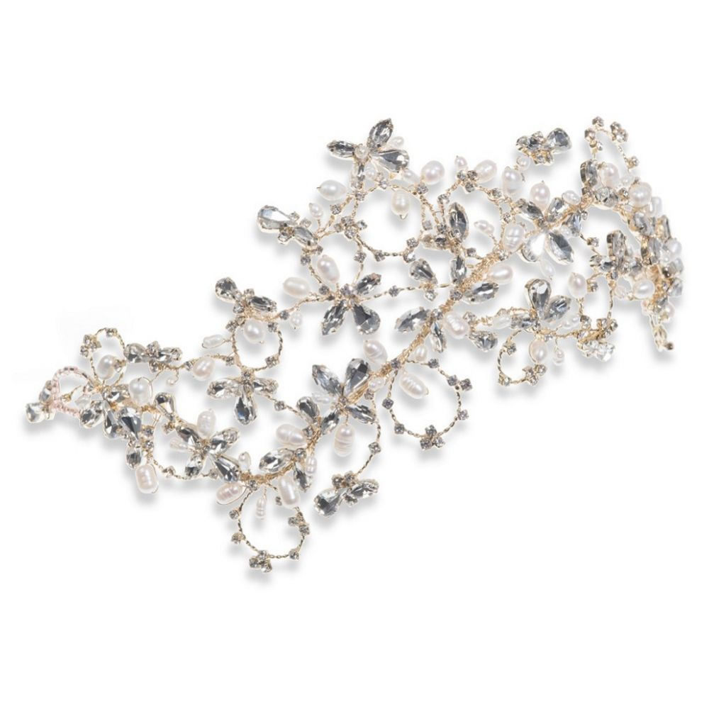 Ivory and Co Saffron Gold Statement Pearl and Crystal Wedding Headpiece