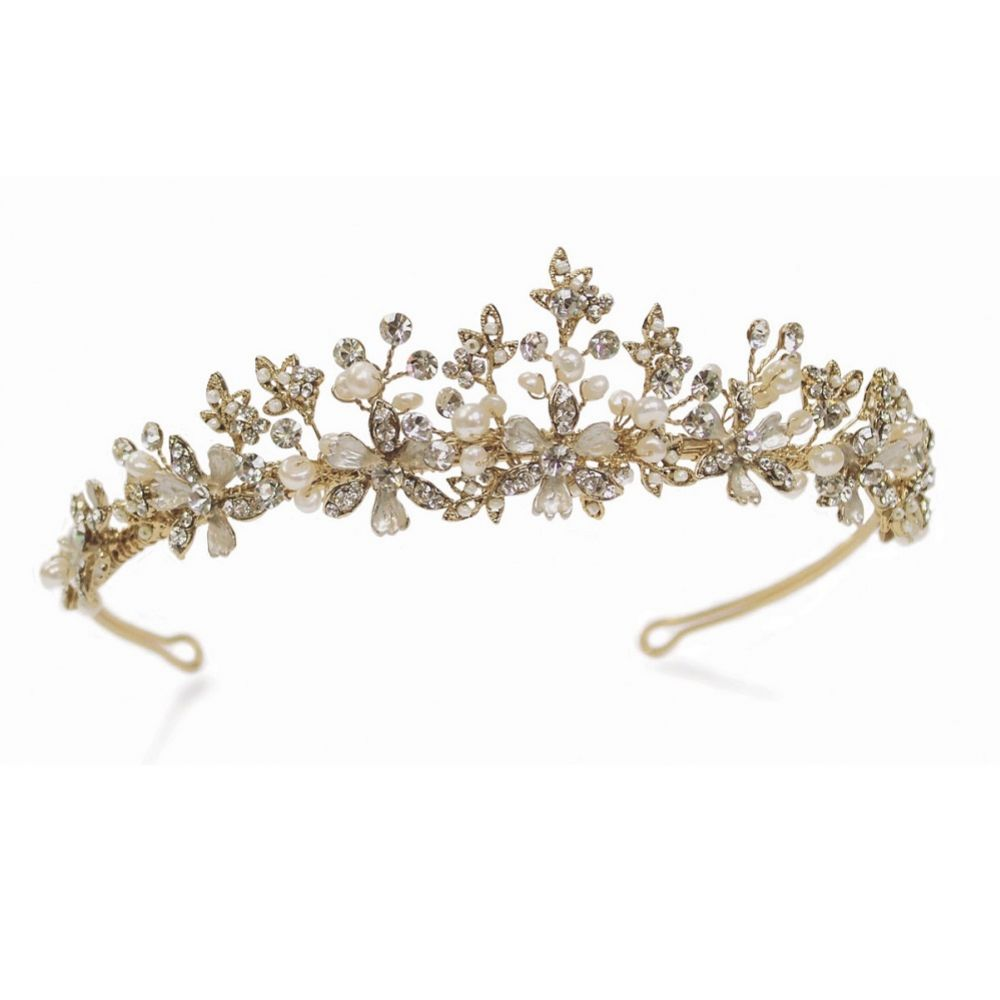 Ivory and Co Seville Golden Flowers and Leaves Bridal Tiara