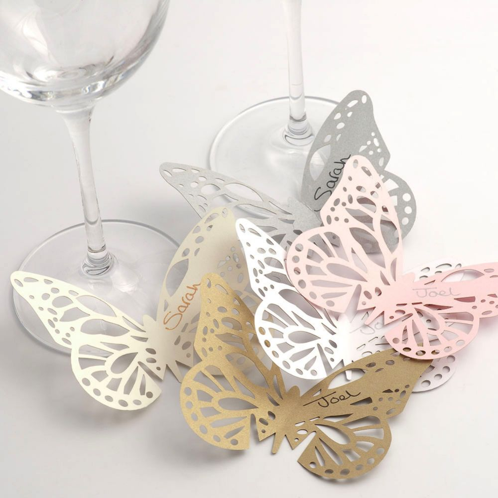 White Lace Butterfly Glass Place Card - Pack of 10