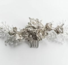 Adrianna Silver Lace Flowers and Crystal Bridal Hair Comb