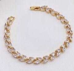 Amara Gold Crystal Vine of Leaves Bracelet