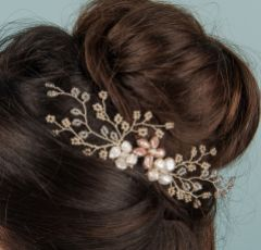 Amaryllis Beaded Spray and Freshwater Pearl Hair Comb