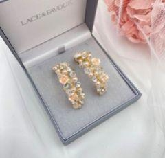 Amelia Blush Porcelain Flower Gold Hoop Earrings