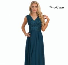 Angel Forever V Neck A Line Chiffon Prom Dress with Lace Bodice (Teal)