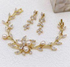 Aria Gold Cubic Zirconia Drop Earrings