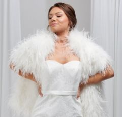 Audrey Ivory Long Ostrich Feather Bridal Stole
