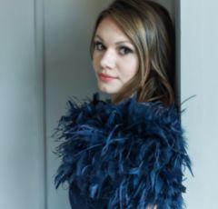 Bardot Navy Ostrich Feather Bridal Stole