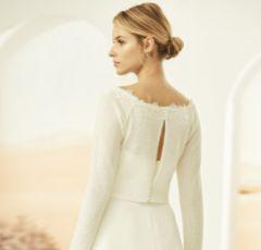 Bianco Ivory Knitted Long Sleeve Bridal Bolero with Lace Detail E325