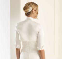 Bianco Ivory Matte Satin 3/4 Length Sleeve Wedding Jacket E55S
