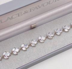 Chelsea Leaf and Teardrop Crystal Wedding Bracelet