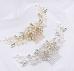 Destiny Pearl Flowers and Crystal Sprigs Bridal Headpiece (Silver)