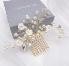 Dianthus Dainty Gold Floral Hair Comb