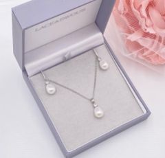 Dolci Silver Crystal and Teardrop Pearl Bridal Jewellery Set