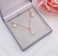 Dolci Rose Gold Crystal and Teardrop Pearl Bridal Jewellery Set