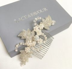 Elouise Beaded Leaves and Ivory Pearl Vintage Inspired Hair comb