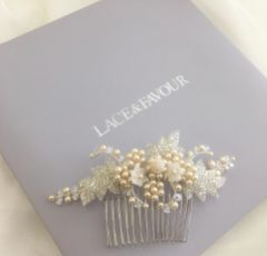 Elouise Beaded Leaves and Champagne Pearl Vintage Inspired Hair Comb