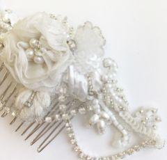 Elsie Vintage Floral Hair Comb with Diamante Drapes