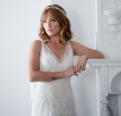 Estelle Long Golden Crystal Wedding Hair Vine