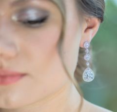 Eternal Chandelier Crystal Wedding Earrings (Silver)