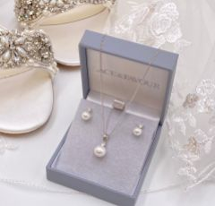 Evie Dainty Pearl Stud Earring & Pendant Jewellery Set