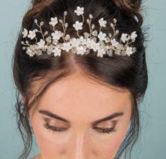 Floriana Ivory Flowers and Crystal Wedding Tiara