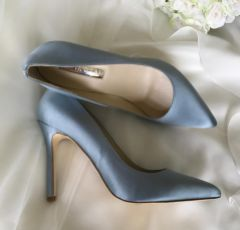 Freya Rose Charlie Blue Satin Pointed Toe Court Shoes