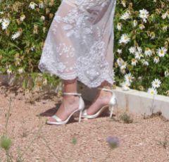 Freya Rose Fefe Ivory Satin Platform Sandal