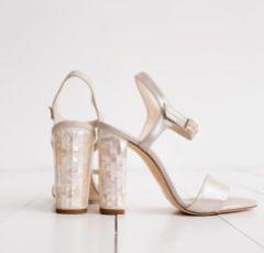 Freya Rose Martina Champagne Suede Mother of Pearl Block Heel Sandals