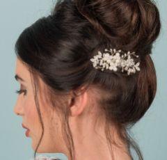Georgina Dainty Crystal Leaves and Pearl Hair Comb