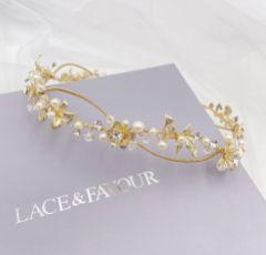 Gloria Golden Floral Bridal Halo Headpiece